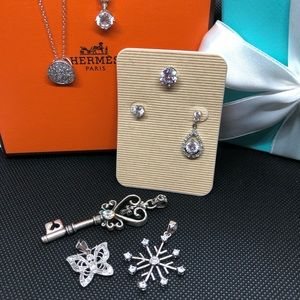 Jewelry - Lg lot sterling silver with CZ earring pendant